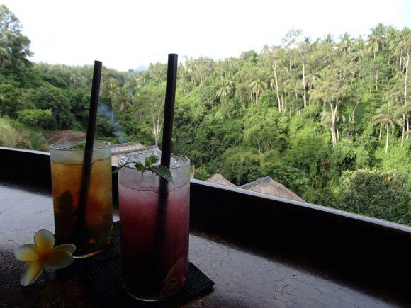 渓谷を眺めながらのウェルカムドリンク